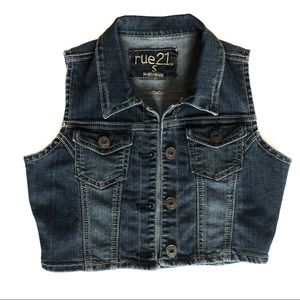 Rue 21 Blue Jean Vest, Medium wash, Juniors Small